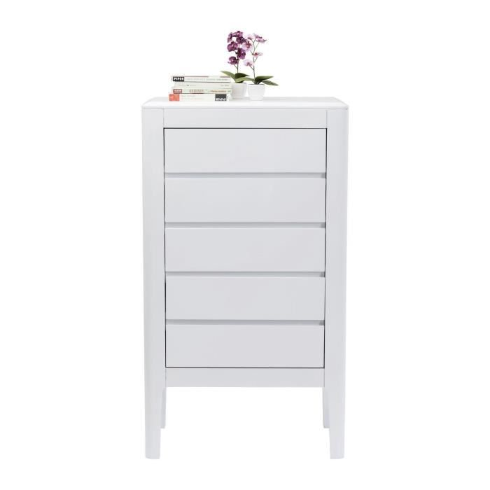 Commode haute Brooklyn blanche 5 tiroirs Kare Design - Achat ...