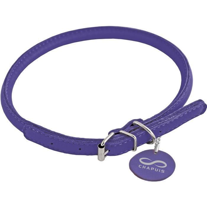 Chapuis Sellerie Collier Réglable Rond Glamour Pour Chien Et Chat - Cuir Violet Ø8 Mm L20-25 Cm Taille S