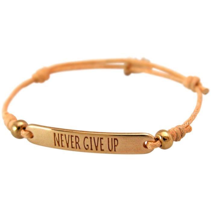 dames Gemshine bracelet noeud gravé JAMAIS ABANDONNER en plaqué or rose. Taille cordon réglable et le saumon charme à la main -