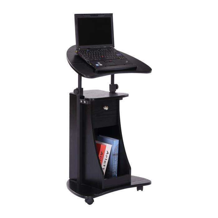 Meuble Pour Pc Portable table informatique pour ordinateur portable à roulettes hauteur