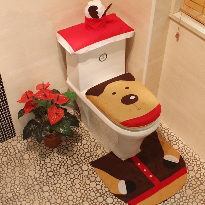 Décoration Noël Maison Housse Siège WC Toilettes + Tapis + Boîte à  Mouchoirs En Forme De Rennes