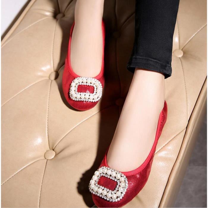 De Perle Couleur Fashion Chaussures Argent rouge or Summer Unie vqOTwxXngC