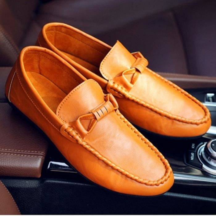 PU-Cuir mocassin chaussures Homme daily-orange Q5ZE74qh26