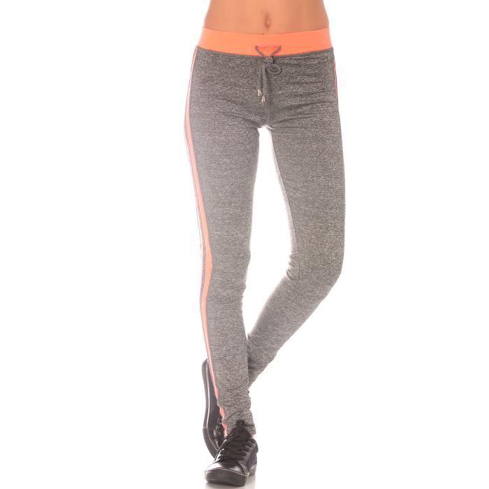 Dmarkevous - Bas de Jogging femme Orange et gris avec bande noir sur ... a73974d8252