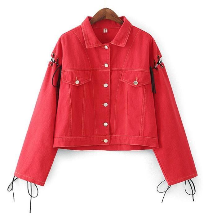 blouson femme chic en denim veste jean courte oversize. Black Bedroom Furniture Sets. Home Design Ideas