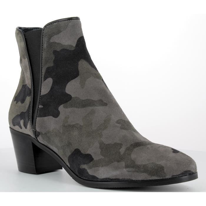 0d7a3475daa48d Bottines en cuir Femme REQINS - KAMINO ARMY Vert Kaki - Achat ...