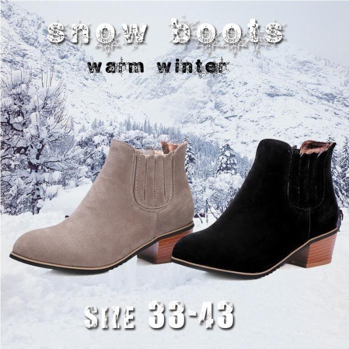 Bottes fourrure d'hiver court Bottes Bottines en daim épais Bottes Talon solide Couleur Chaussures Femme (taille: 33-43) ic5u9elKv