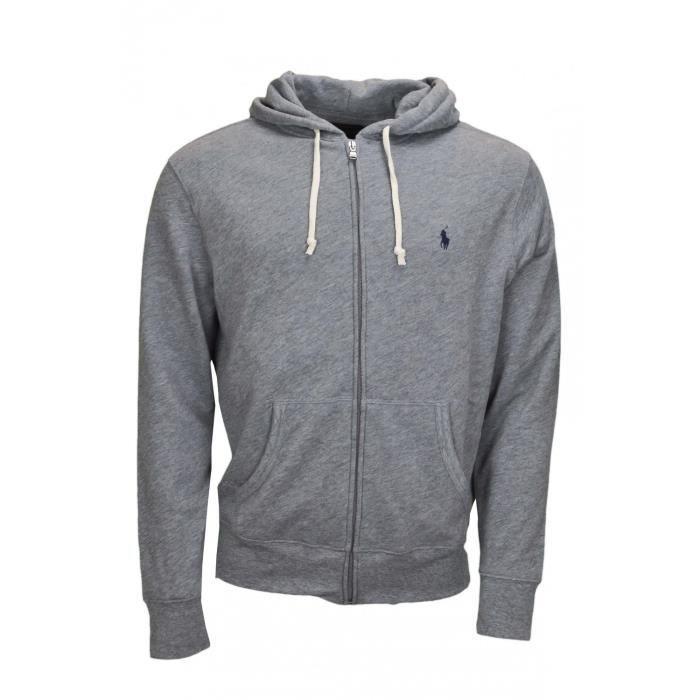 Gilet zippé léger maille Ralph Lauren gris pour homme - Couleur  Gris -  Taille  XL 2dd4806a233e