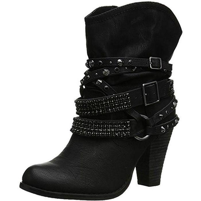 Minetom Bottes De Femme Chaussures Hiver Cheville Boots Chaudes ... 601c6af4bf34