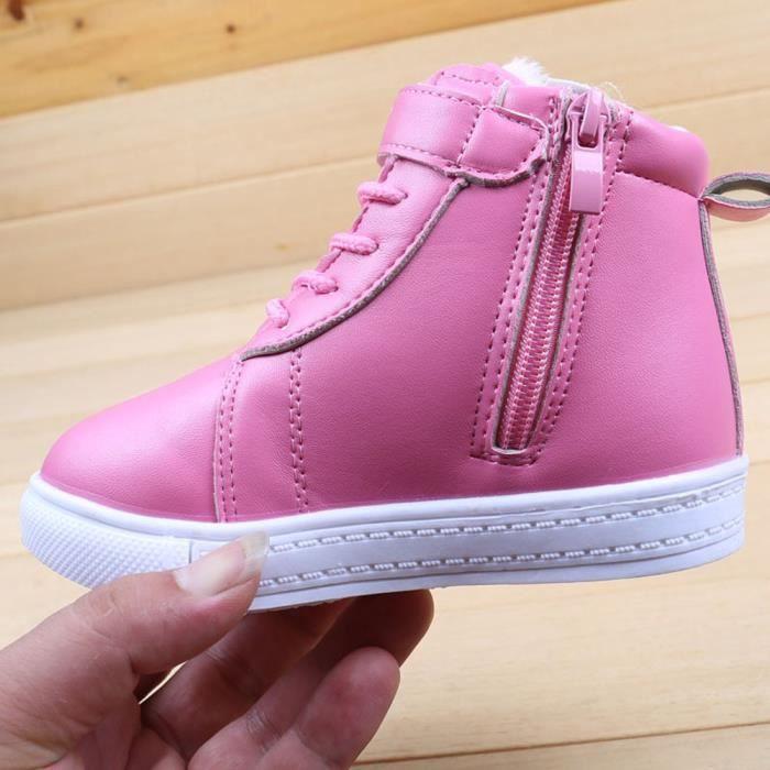BOTTE Enfants Chaussures Automne Hiver Cachemire Enfants Martin Bottes Imperméables@Rose