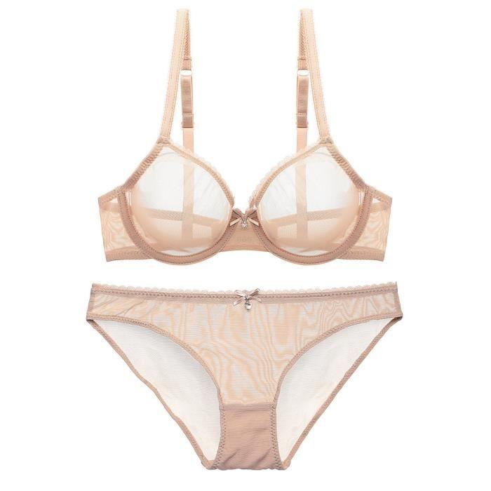 Femmes Sexy Soutien-gorge Culotte Ensemble Sous-Vêtements Intimates  Dentelle Lingerie UPWYP70427009BG75C Beige 7ac555f775c