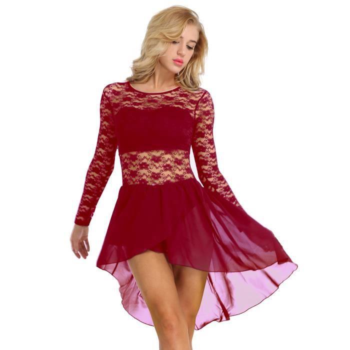 Robe de danse classique femme - Justaucorps de Danse Ballet dentelle  Asymétrique Bodysuit de Danse Robe de Patinage Vêtement Danse 33b0c2fd901