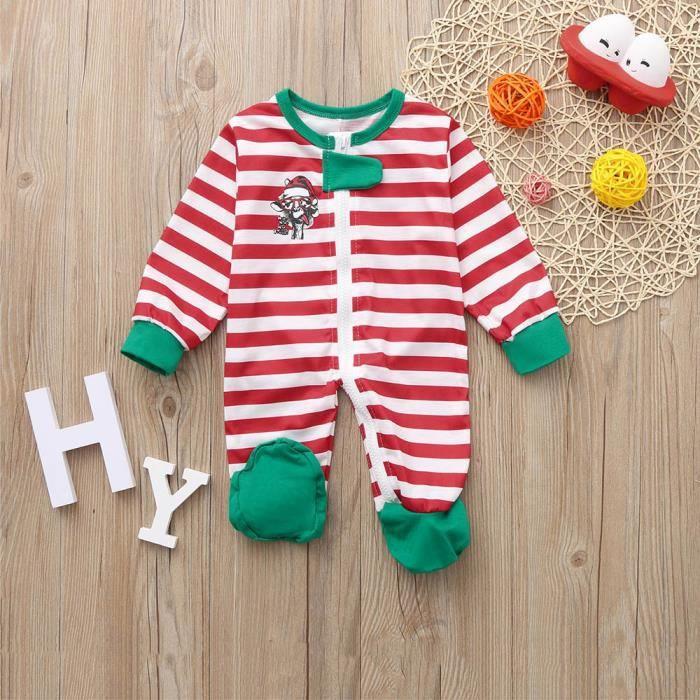 Jumsuit Bébé Noël De Famille Nuit Tenues Enfants Pyjama Fille Rouge Barboteuses pWUWn6