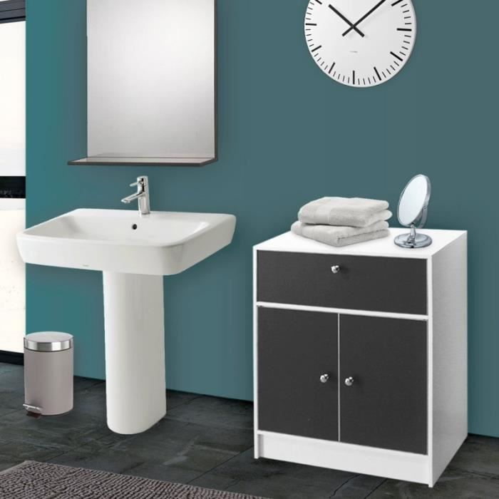 Meuble bas de salle de bain blanc et gris commode de rangement achat vent - Commode de salle de bain ...