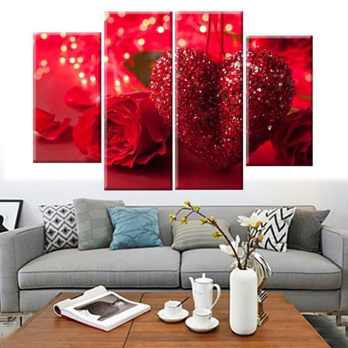 TABLEAU - TOILE TEMPSA 4pcs Tableau Peinture à Huile Red Heart San