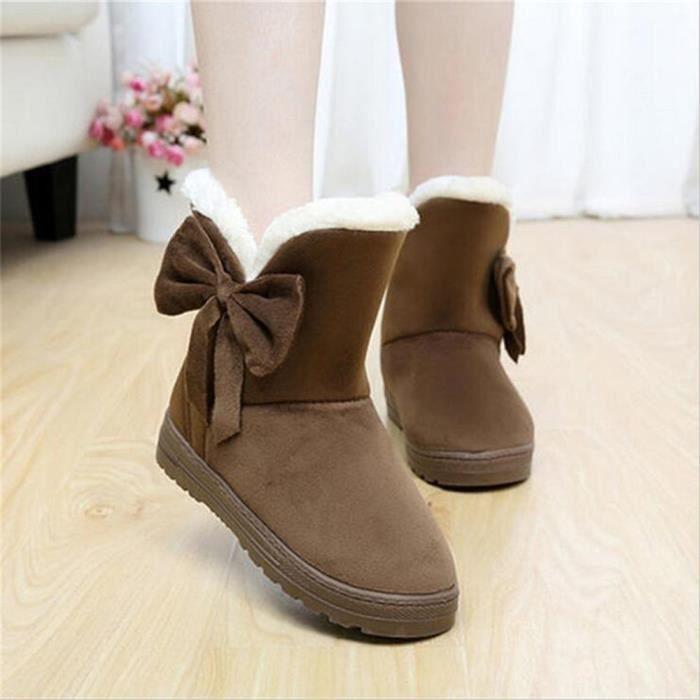 Bottine Femme Hiver Comfortable Peluche Classique Boots BLLT-XZ014Marron-36