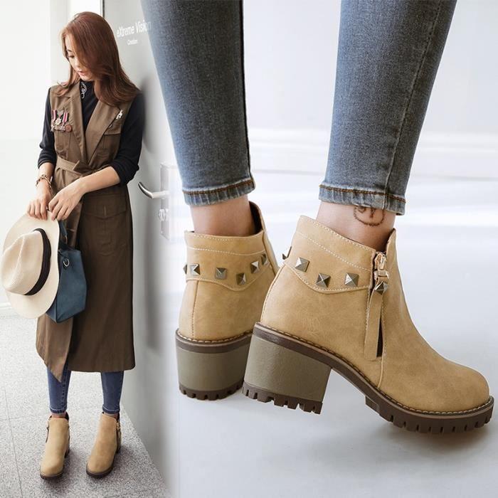 bottine en daimfemmehiver automne boots féminin zippé à talon moyen avec rivet