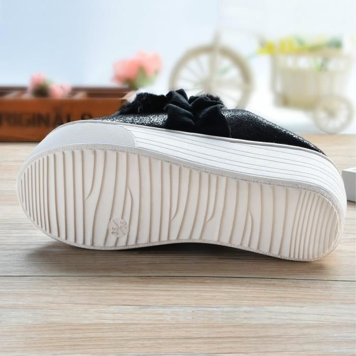 belles dames & # 39; les femmes en lin coton pantoufles de chambre douce familiale d'hiver cachemire chaud pantoufles de fond 6O0JRI