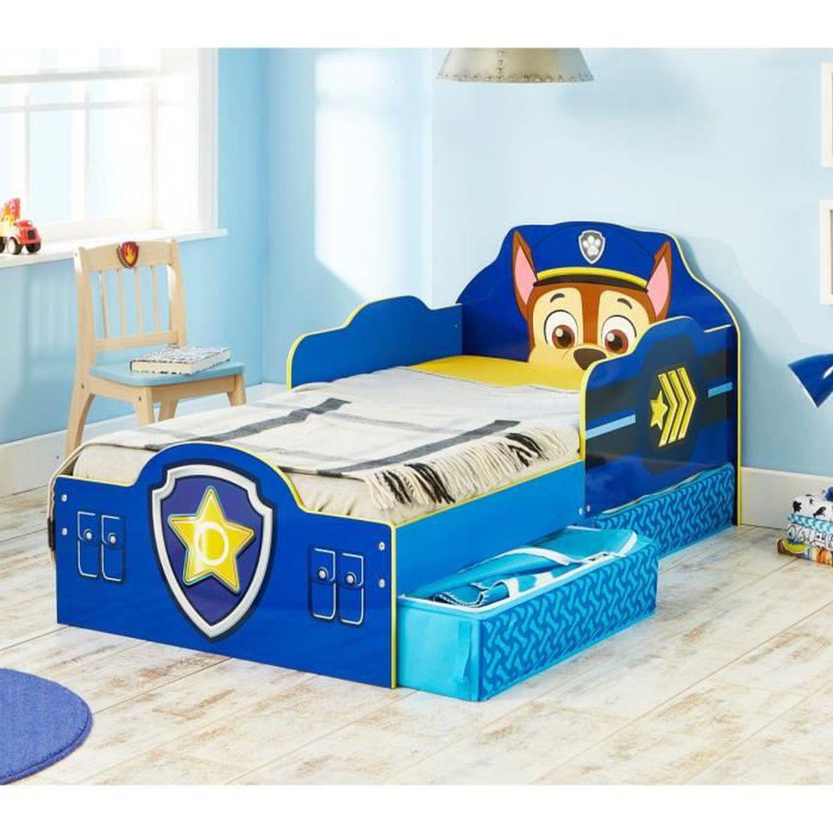 Lit enfant pat patrouille design avec tiroirs 70x140 for Lit 70x140 age