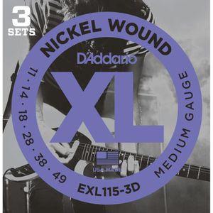 DADDARIO EXL115-3D 3 Jeu de cordes pour guitare électrique en nickel - Blues jazz