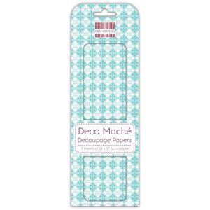 DECO MACHE 3 feuilles de papier découpage Blue Regal repeat