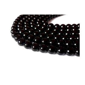 Perles 260 perles noire nacrées en verre 6 mm