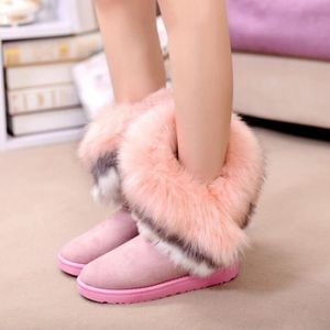BOTTINE Chaussures roses veloutées à fausse fourrure et à