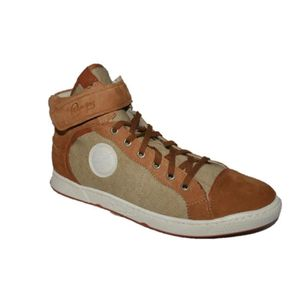 BASKET Pataugas Joice cuir/toile beige camel