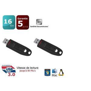 CLÉ USB 2 x SanDisk Ultra 16 Go Clé USB 3.0