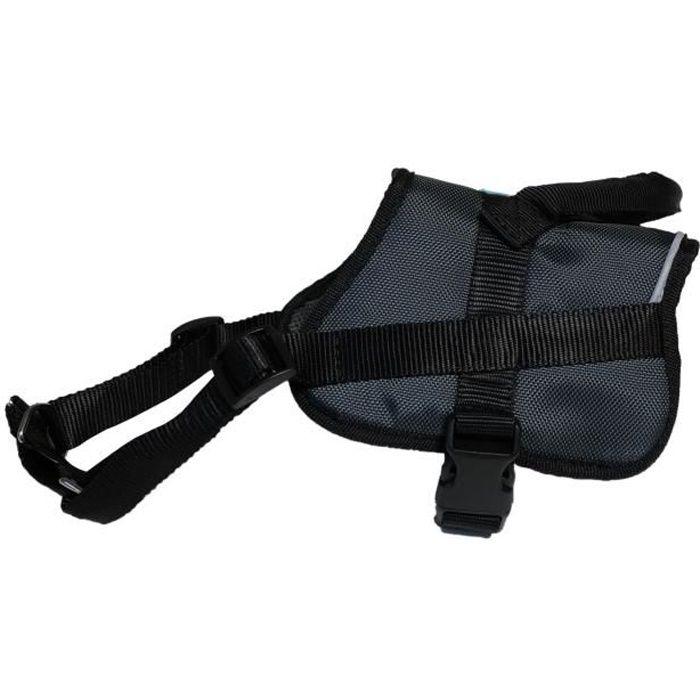 YAGO Harnais Anti-traction Education du Chien, Couleur Gris, Taille L 80-105 cm, Bandes Réfléchissantes, Confort maximal