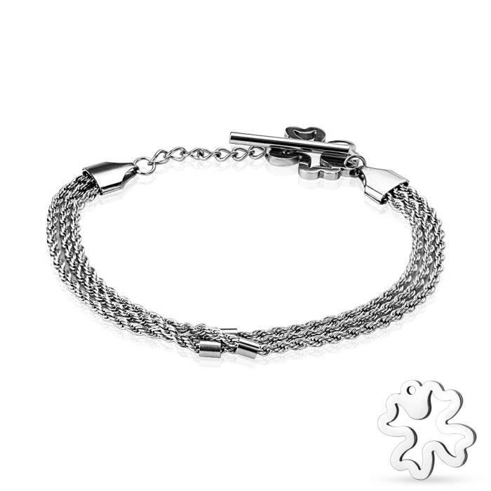 Bracelet Coolbodyart® de Tapsi acier bracelet cycliste triple cordon torsadé argent avec des feuilles de trèfle et la fermeture du