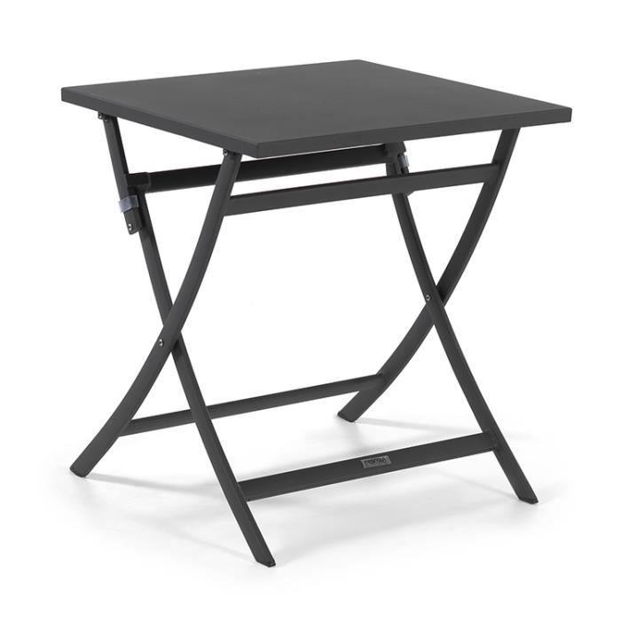 Table pliante carrée en alu anthracite 70 x 70 cm Grace - Achat ...