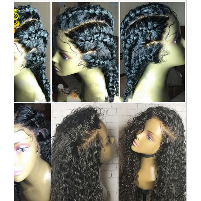 Indian Remy Curly Lace avant perruque Black