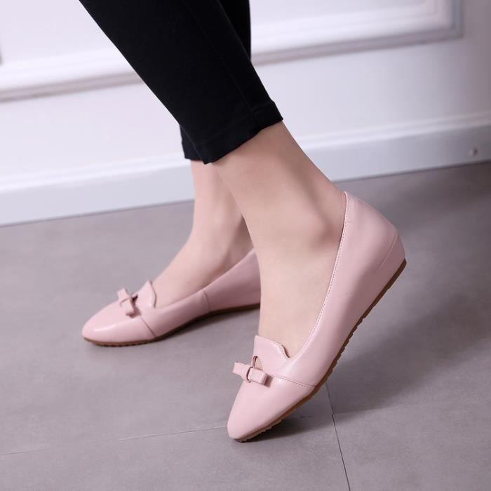 ballerine-Pure Color Low Heel Women bowknot Bal...