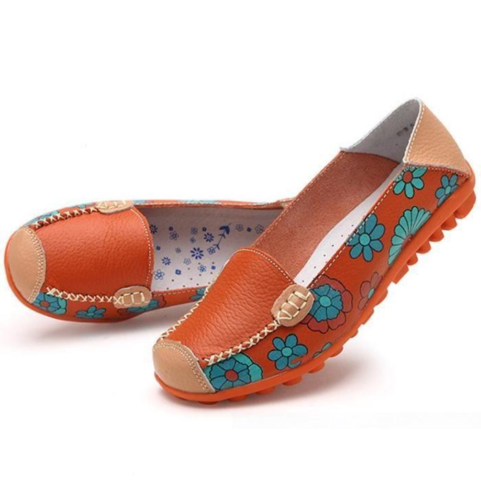 XZ444W4XZ444W4Femmes d'été Fleur Casual Imprimer Espadrilles Mocassins Flats Chaussures