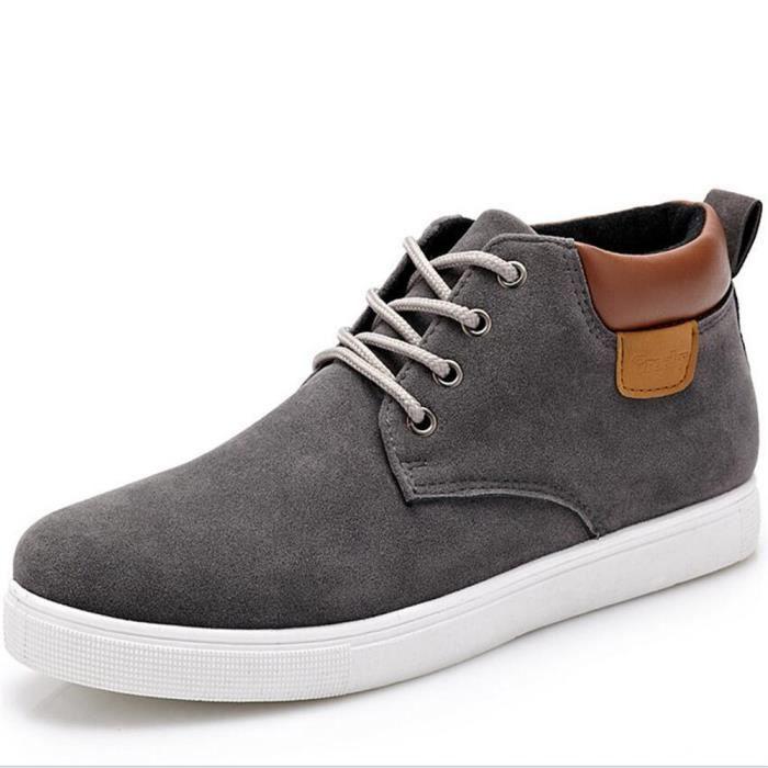 Basket C-x243gris42 Chaussures Hommes Véritable En Cuir Daim Casual Hommes Chaussures High Top Mode Patchwork Classique Léger KvtoYN2FcH