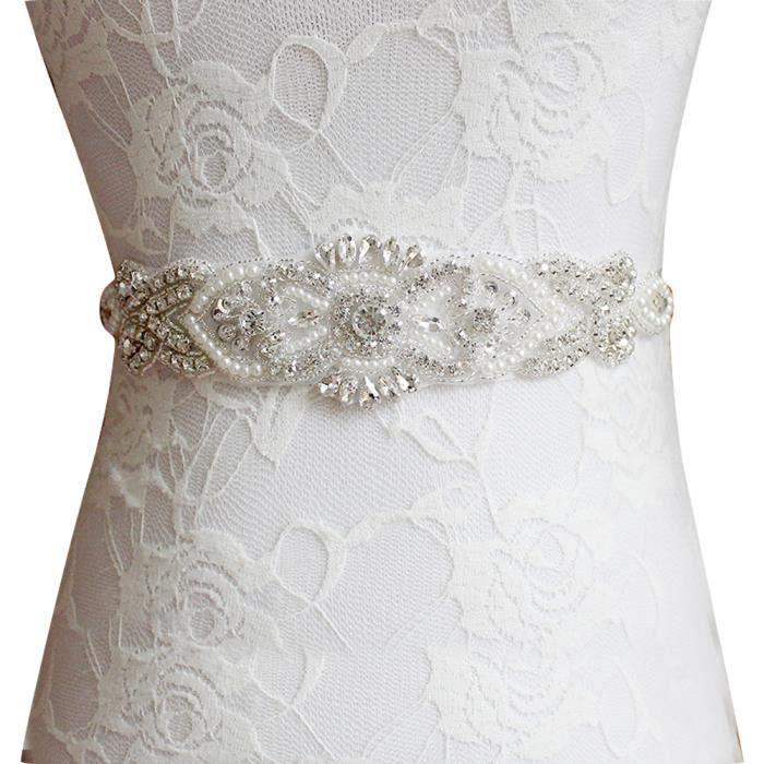 Mariée De Ceinture 26x5cm Accessoire noir gris blanc Violet Robe Argenté Strass poudre Perles rouge ivoire Gogou Mariage Xw54 Et EqE5gwnx8