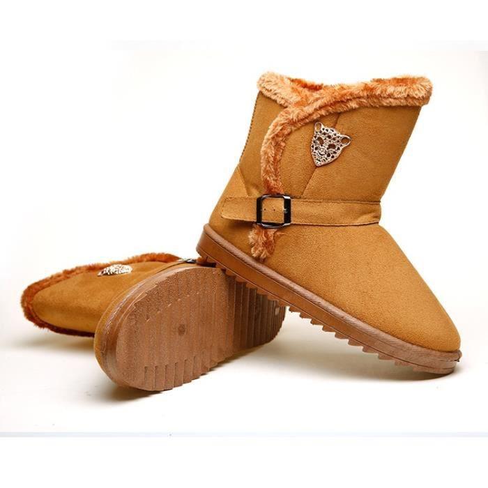 Femmes Bottes vache Suede Enfilez hiver Femmes Chaussures bout rond chaud en peluche Gardez Bottes de neige,marron foncé,40