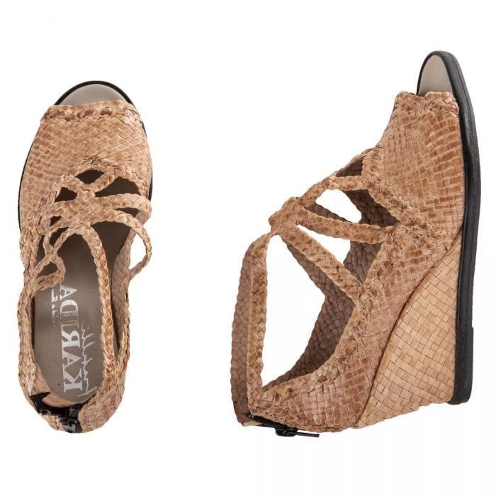 magasin discount valeur formidable ramasser Sandales compensées tressées en cuir beige femme KARIDA ...