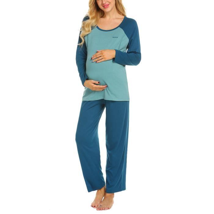 0c2169e282d8a Ensemble de pyjama d'allaitement maternel à manches longues Bleu ...