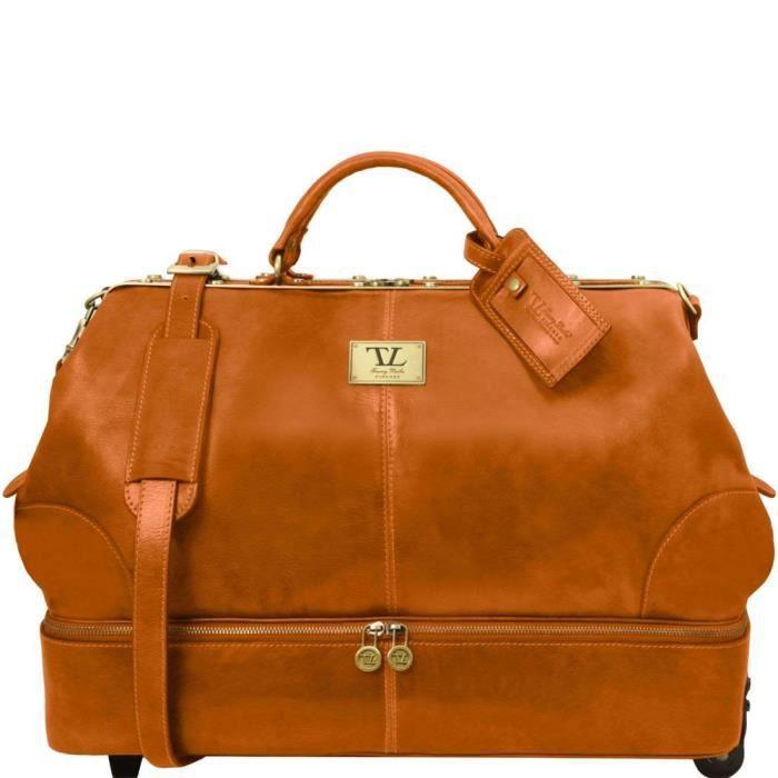 Tuscany Leather - Siviglia - Sac de voyage en cuir avec double fond et deux roulettes - Miel