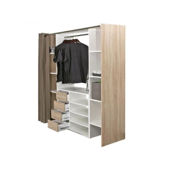 ensemble dressing meuble de rangement emeric ch ne taupe achat vente armoire de. Black Bedroom Furniture Sets. Home Design Ideas