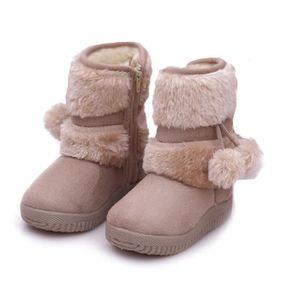 Hiver Bottes Enfants En Peluche Chaussures Filles Garçon Bottines BLKG-XZ095Rouge35 5v3iD