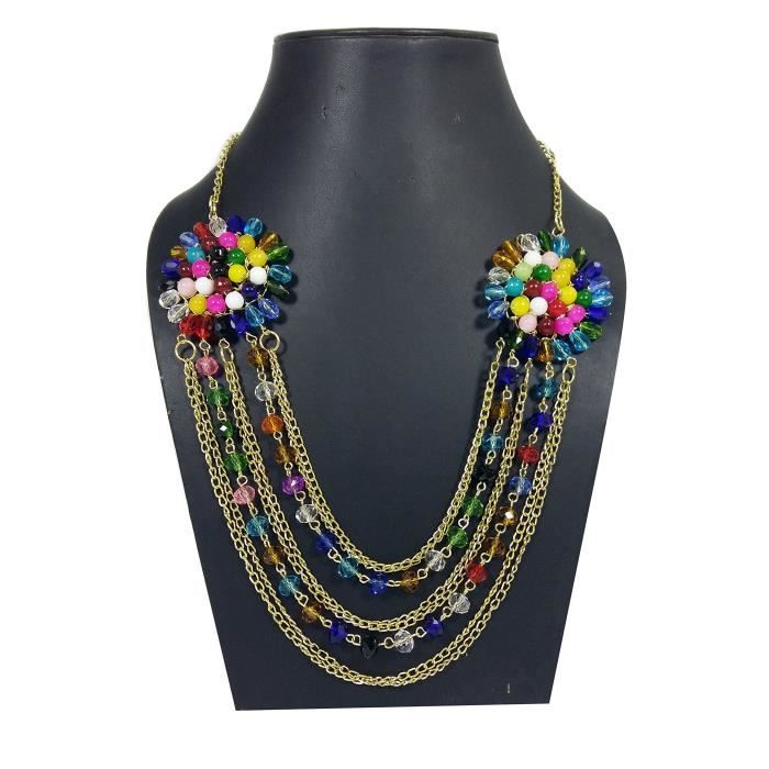 Womens Color Beads Handicraft Designer Traditional Ethnic Necklace With Gold Color Chain For - Cry YROEF