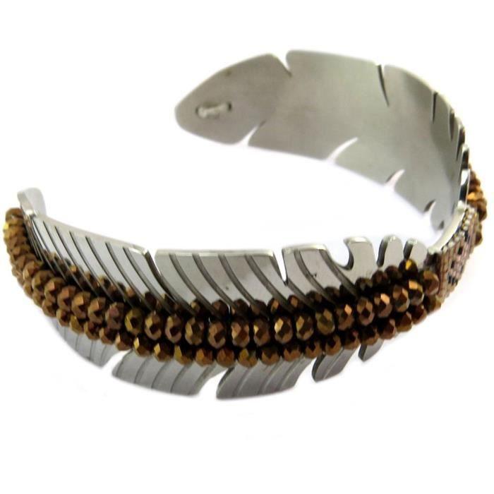 Bracelet acier Navajos marron argenté - 22 mm [P4909]