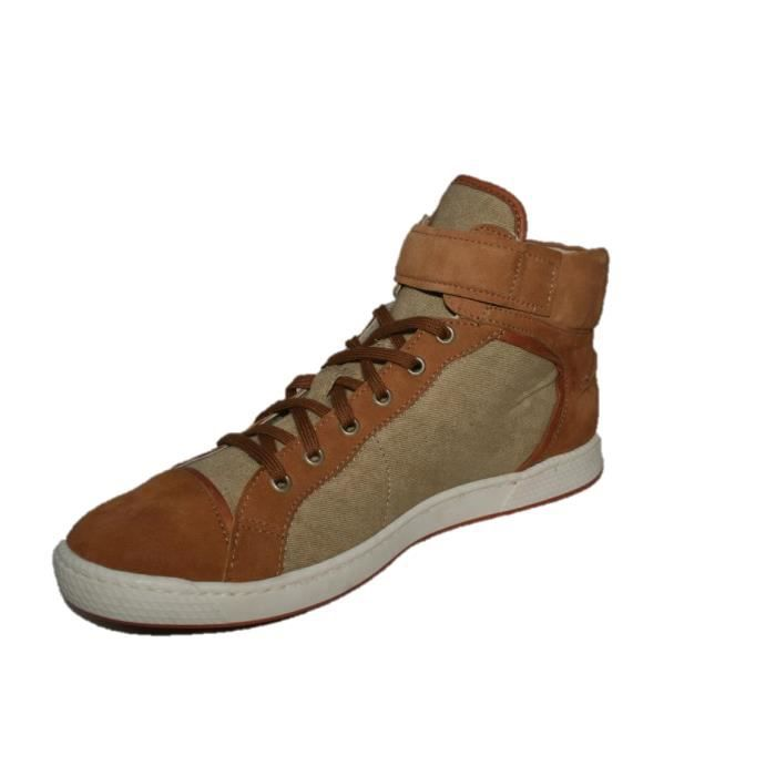 Pataugas Joice cuir/toile beige camel zS5Y7UpV5