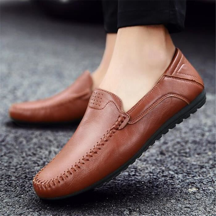 Chaussures homme en cuir 2017 nouvelle marque de luxe moccasin Antidérapant Loafer moccasins homme cuir Grande Taille 44 4ZTF2iKj