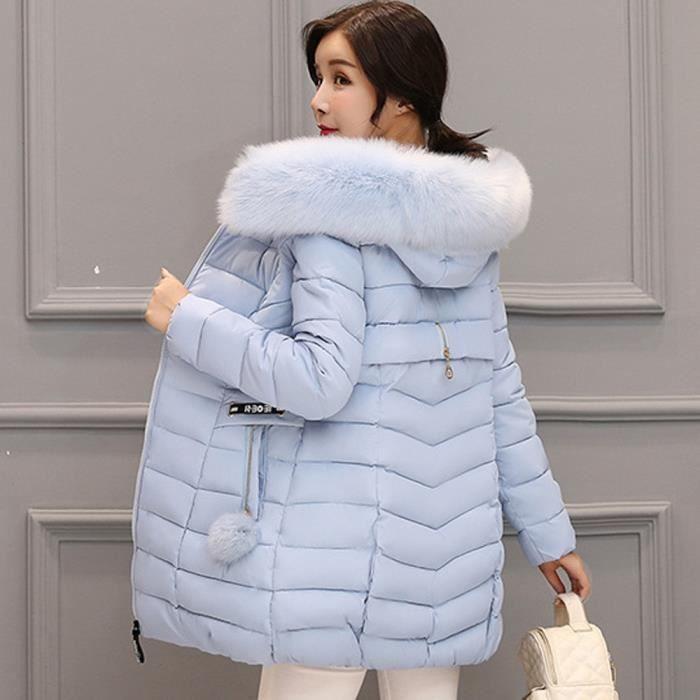 Outwear Femmes Veste À Parka Fourrure Chaud Capuchon Slim Manteau Manches Longues Bleu Épais Coton qqRBEHT4n