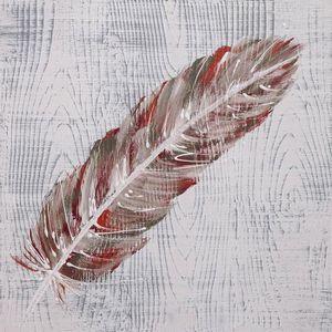 cb154396d2d TABLEAU - TOILE PLUME Tableau déco toile peinte à la main 35x35 cm