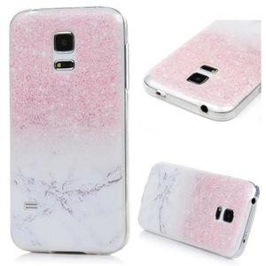 b433b0ac41903e Galaxy S5 Mini Coque - Antichoc Coque Samsung Galaxy S5 Mini Silicone TPU  Slim Coussin Protection Etui Mabre Rose